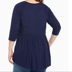 TORRID EMBROIDERED BACK TUNIC TOP